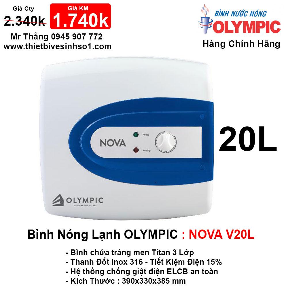 Bình Nóng Lạnh Olympic NOVA V20L