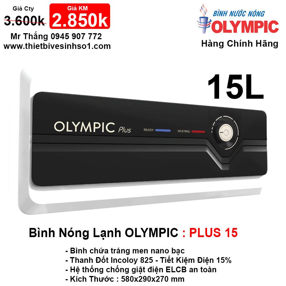 Bình Nóng Lạnh Olympic PLUS 15