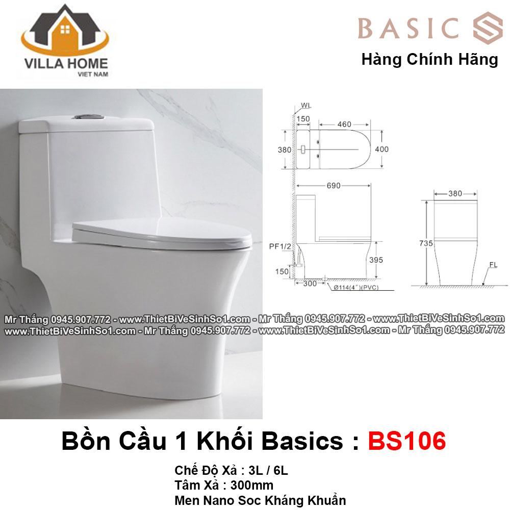 Bồn Cầu 1 Khối Basics BS106