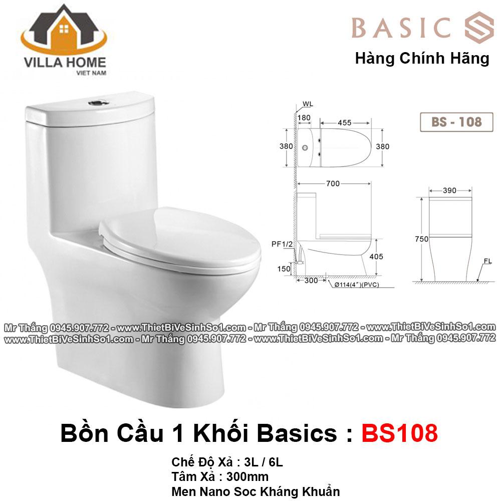 Bồn Cầu 1 Khối Basics BS108