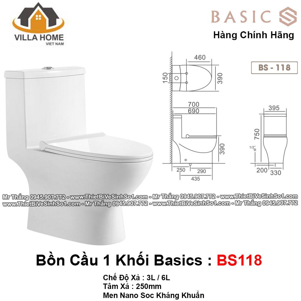 Bồn Cầu 1 Khối Basics BS118