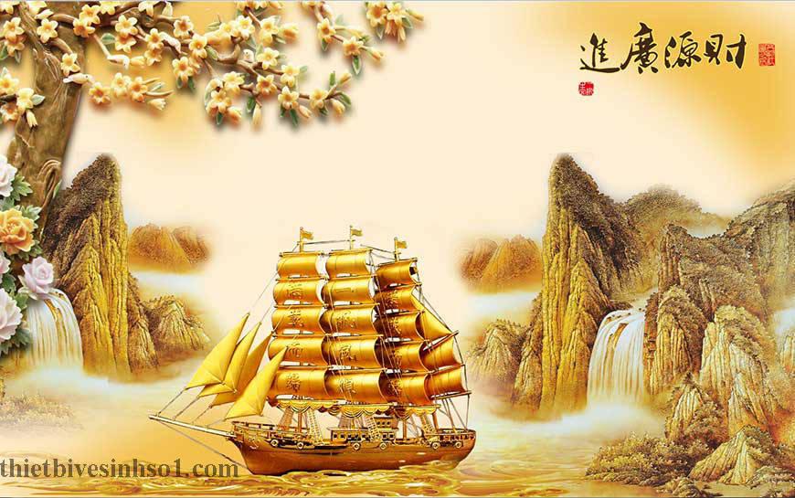 Gạch Tranh Trang Trí Thuận Buồm Xuôi Gió BG013